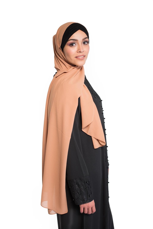 Hijab Mousseline nude pêche