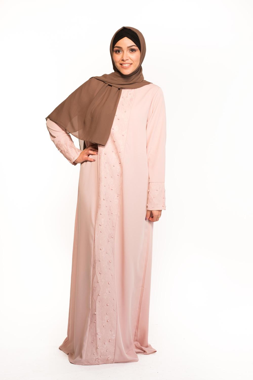 Abaya dentelle rose