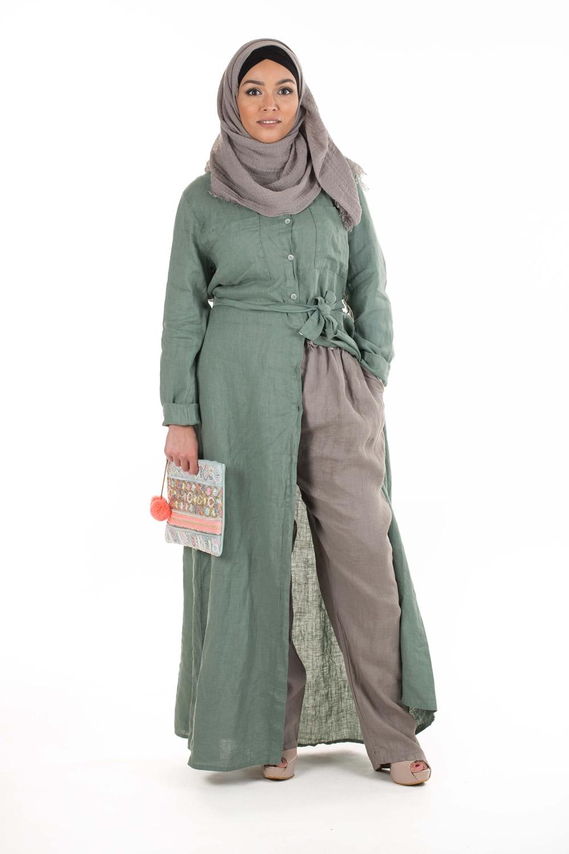 Robe chemise Lin vert pastel