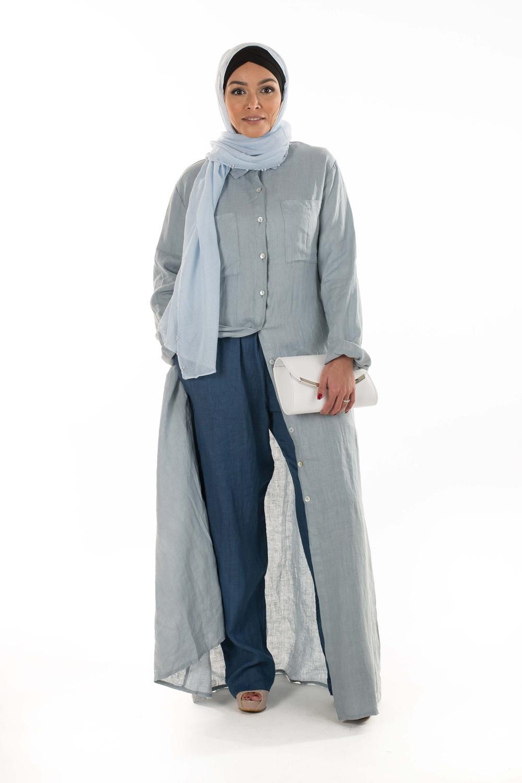 Robe chemise en Lin bleu