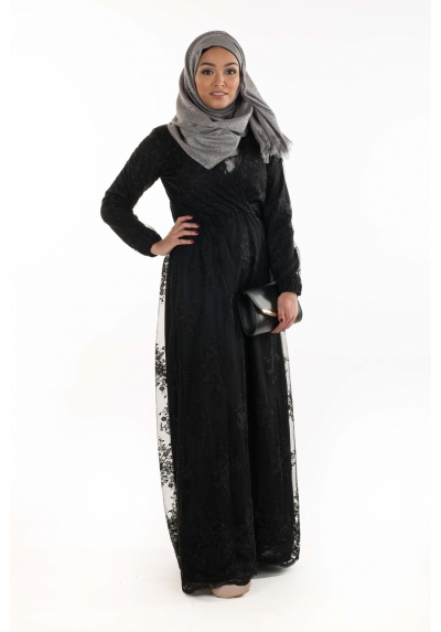 Robe Kaftan noir mode islamic femmes musulmanes boutique hijab moderne fashion