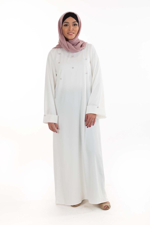 Abaya bijoux blanche