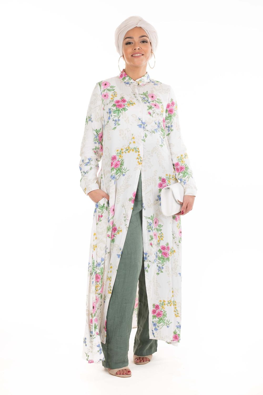 Robe chemise fleurie blanche