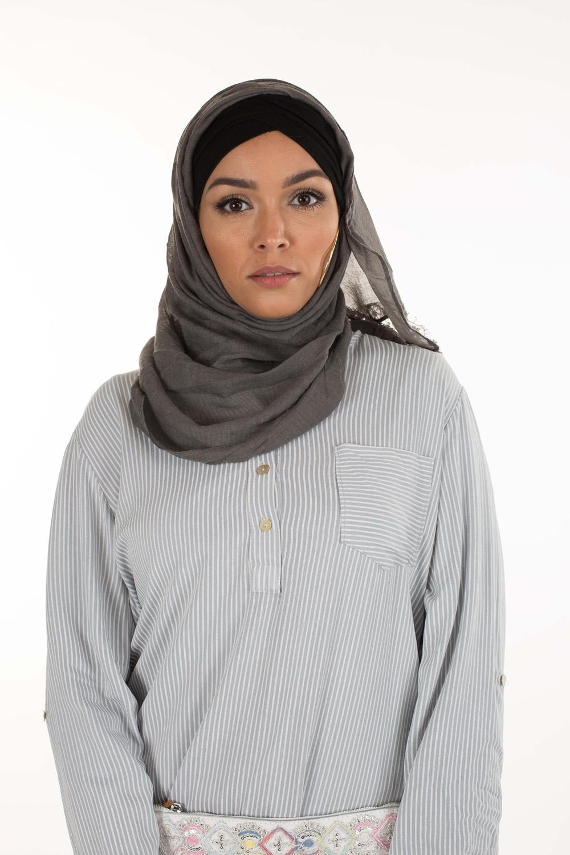 Hijab Coton dentelle gris