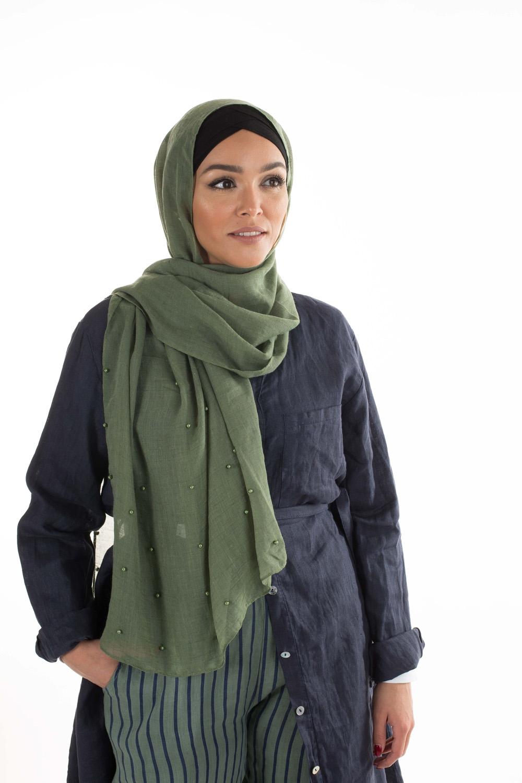 Hijab perlé vert