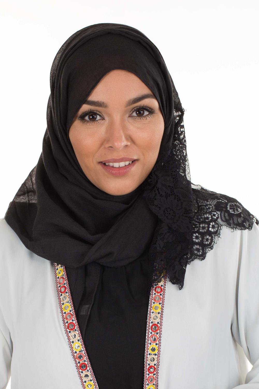 Hijab Coton dentelle noir