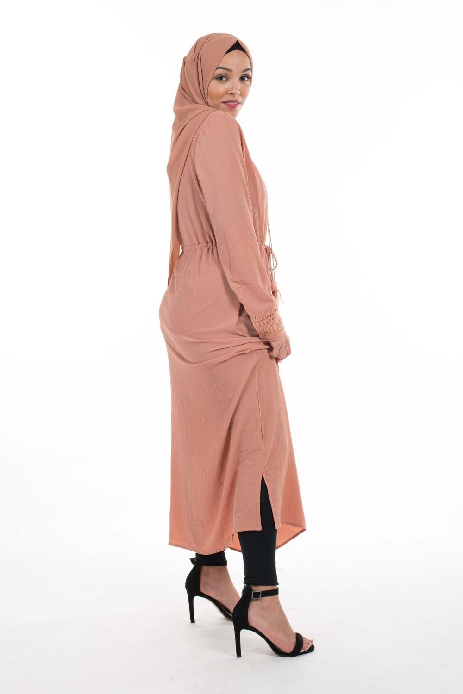 Robe tunique crêpe nude