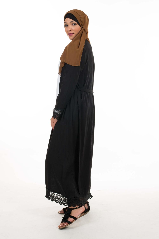 Kimono coton dentelle noir