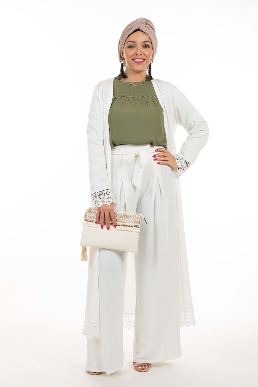 Kimono coton dentelle blanc