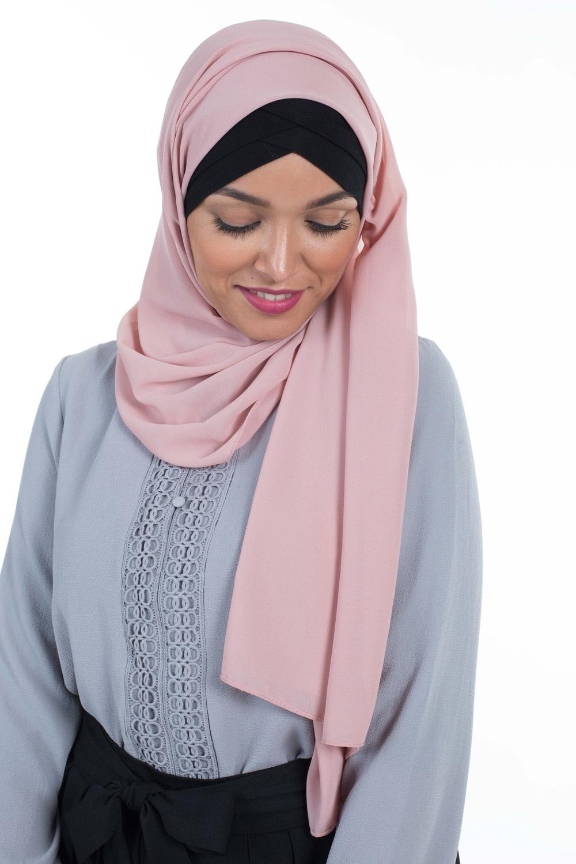 Hijab Mousseline rose pastel