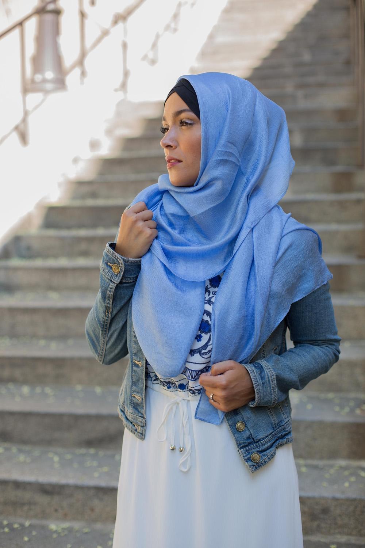 Maxi hijab d'été denim