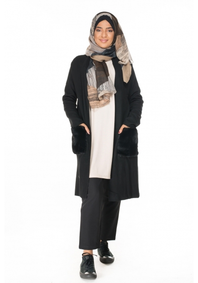 Gilet long poches fourrure mode modest fashion boutique hijab vetements femmes musulmanes