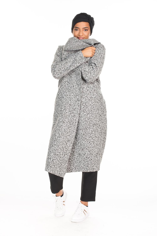 Veste manteau long chiné