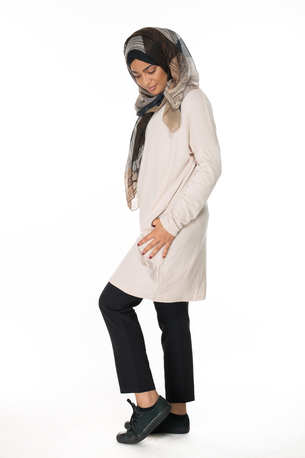 Tunique pull beige