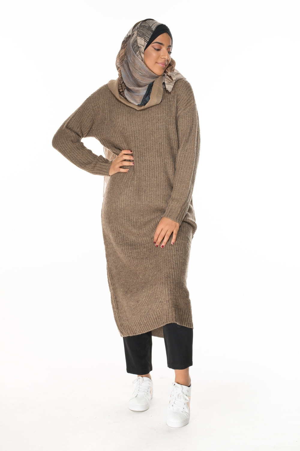 Tricot long brown grosse maille collection automne hiver 2018 boutique hijab