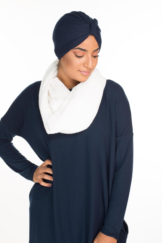 Turban coton bleu