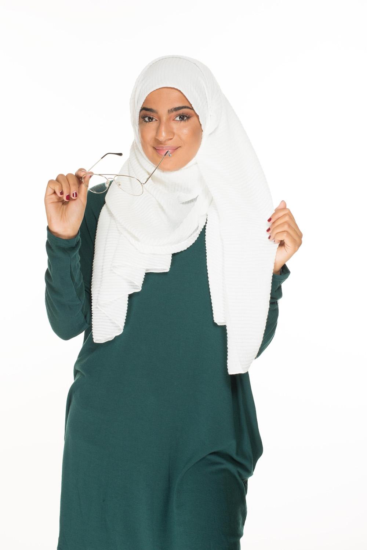 Hijab gauffré XXL blanc