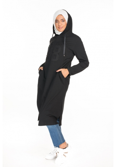 Sweat long à capuche Brooklyn sport wear pour femmes musulmanes mode hijab boutique moderne parisienne