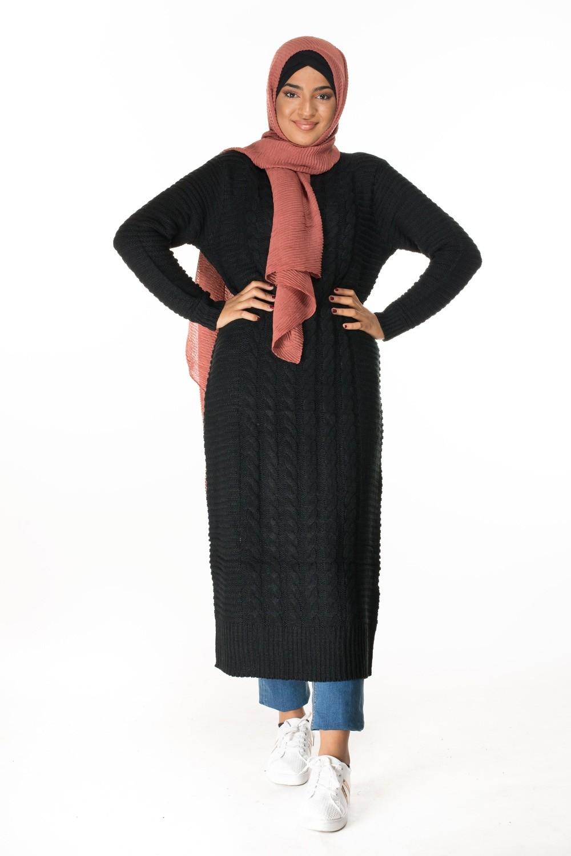 100% authentique ad129 9402b Pull robe très long noir pas cher pour femmes voilées