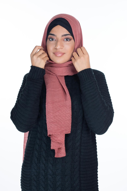 Hijab gauffré XXL safran
