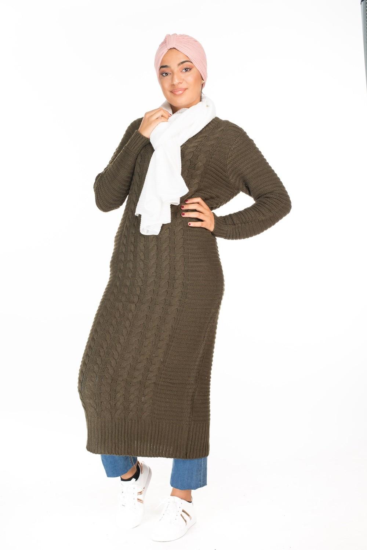 en soldes 2f5de 034a3 Pull robe très long kaki pas cher pour femmes voilées