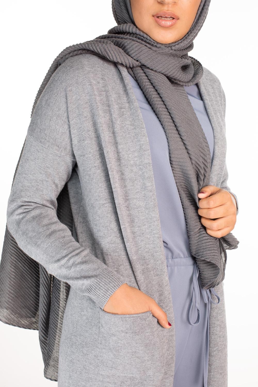 Hijab gauffré XXL gris foncé
