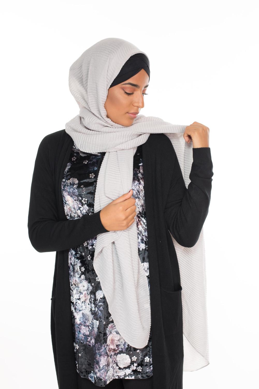 Hijab gauffré XXL gris clair