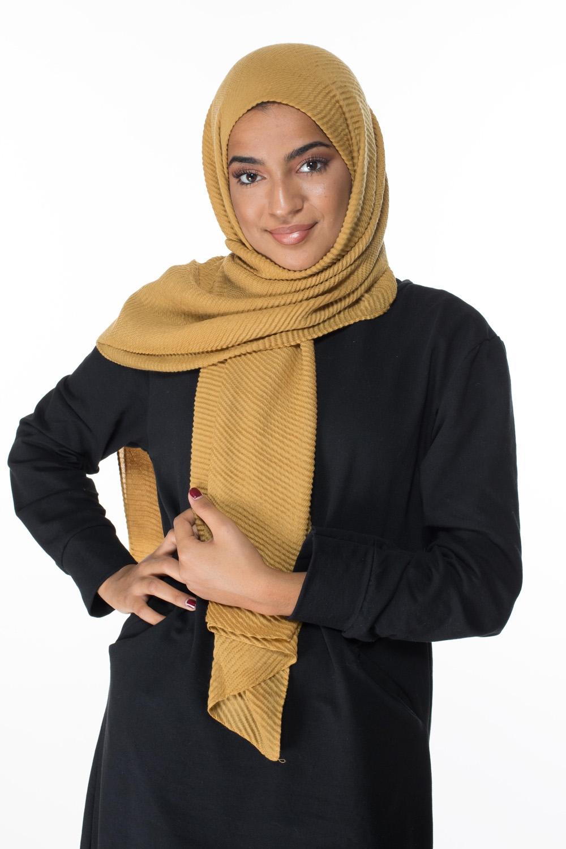 Hijab gauffré XXL moutarde