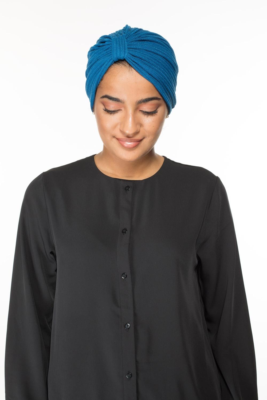 Turban coton bleu canard