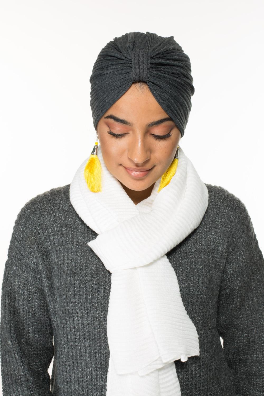 Turban coton gris foncé