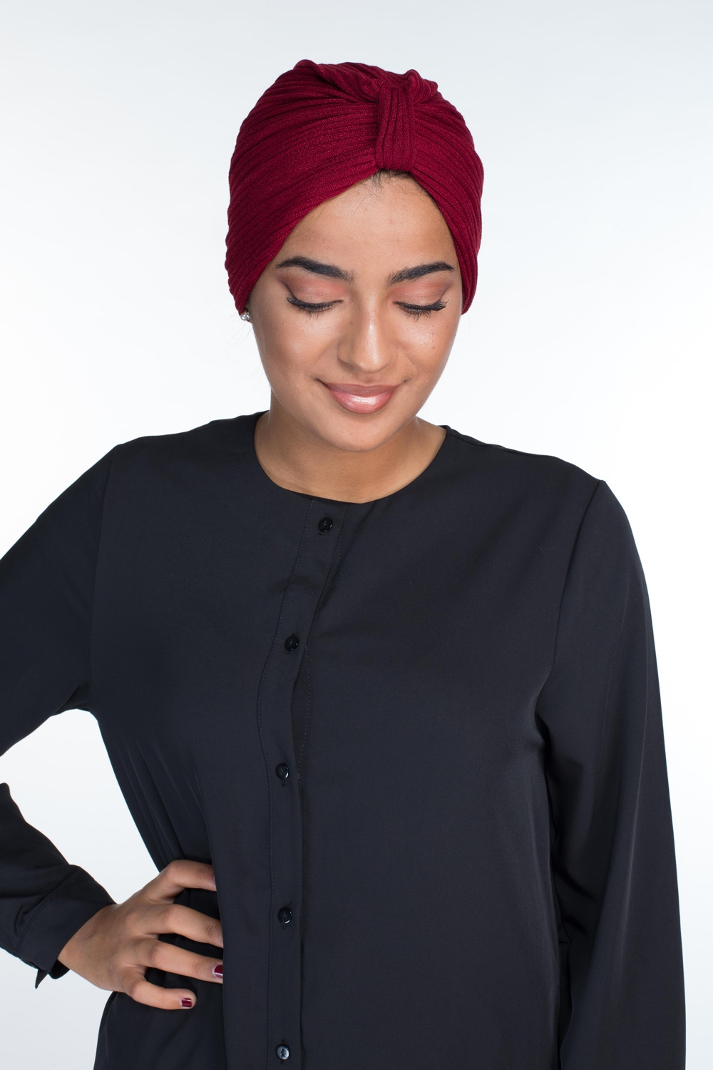 Turban coton bordeau