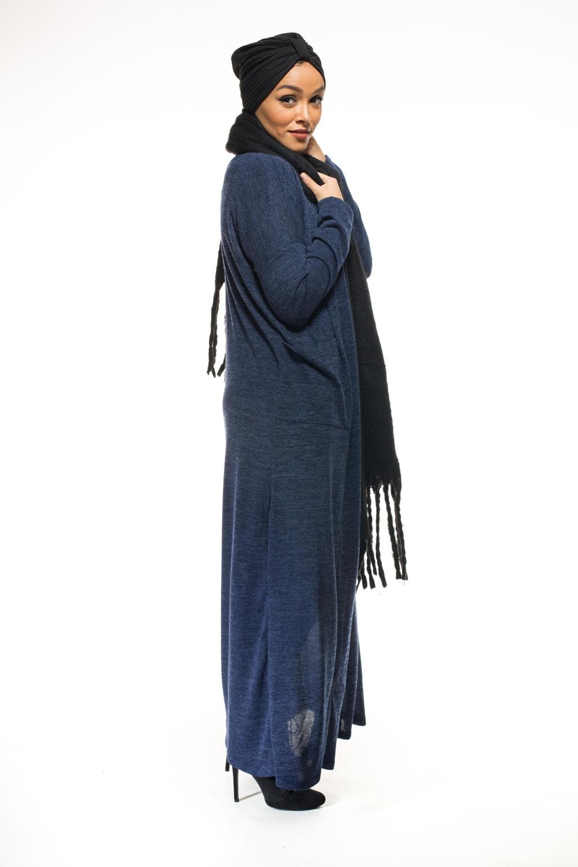 Gilet long bleu