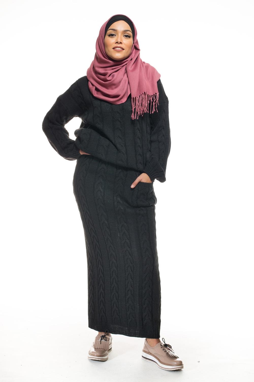 Ensemble tricot torsadé noir
