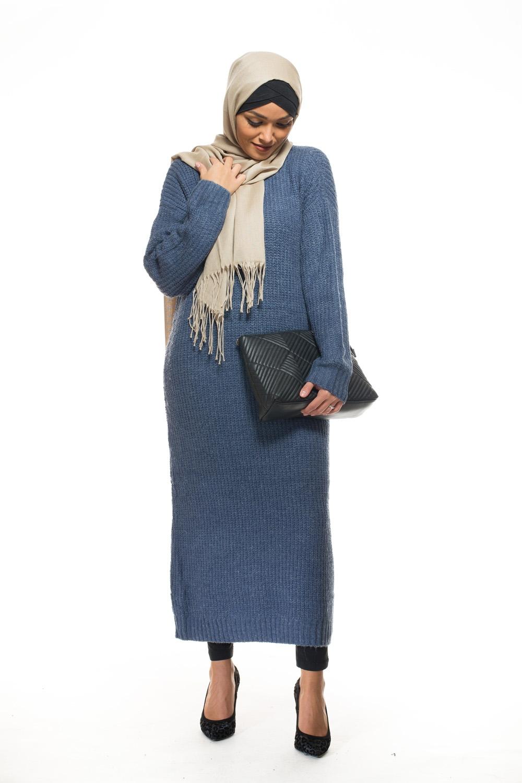 Tricot long bleu denim