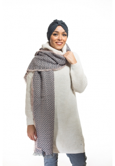 Echarpe xxl gris rose boutique hijab mode musulmane