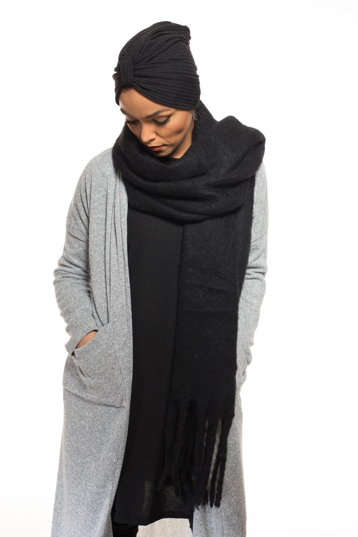 Echarpe xxl laine noir