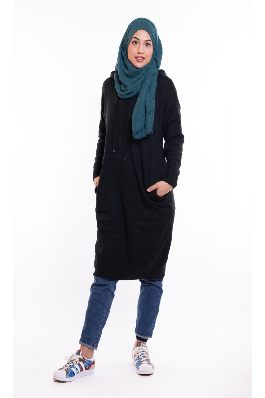 Veste en jean longue femme hijab