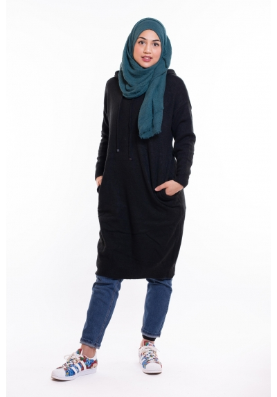 Pull long laine à capuche noir pour femme musulmane boutique hijab modest fashion collection 2019