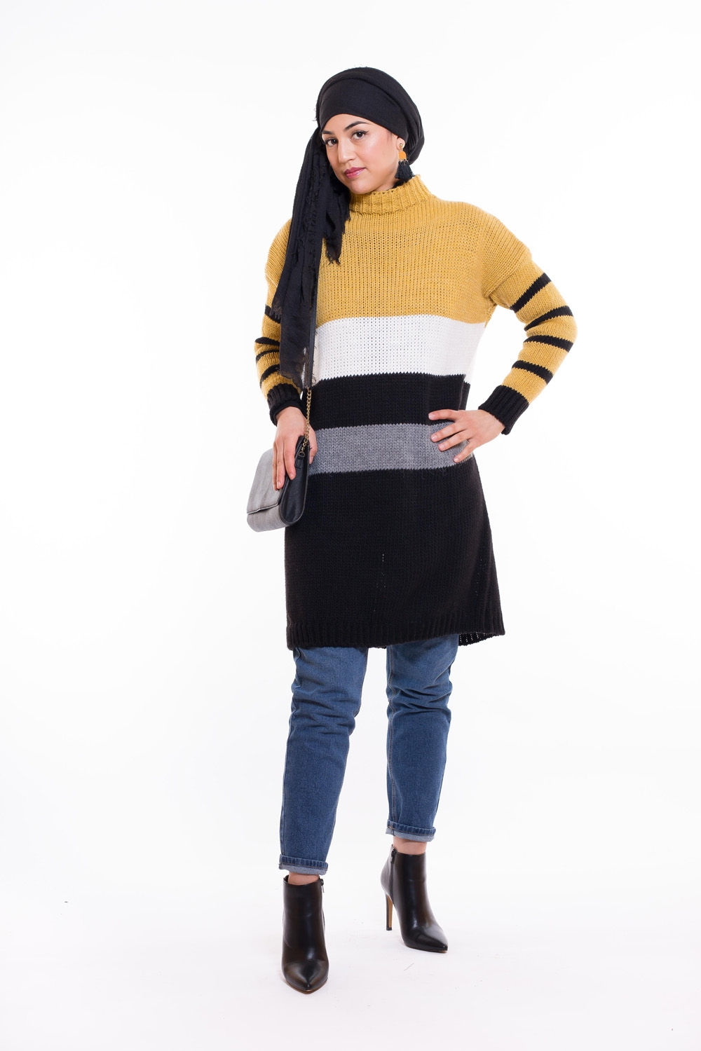 Pull tricolor moutarde