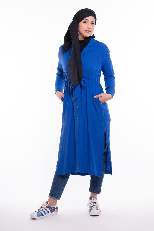 Chemise longue ceinture intégré bleu roi