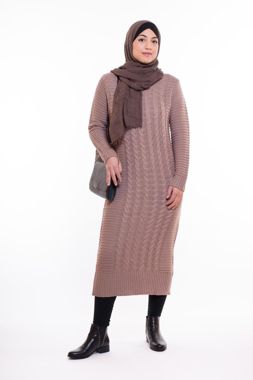 styles frais texture nette vaste gamme de Pull robe très long taupe pas cher pour femmes voilées