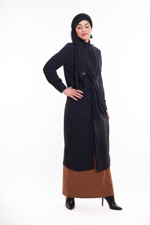 Robe chemise wrap noir