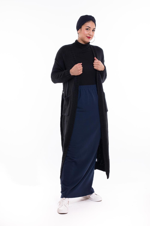 Jupe droite casual bleu