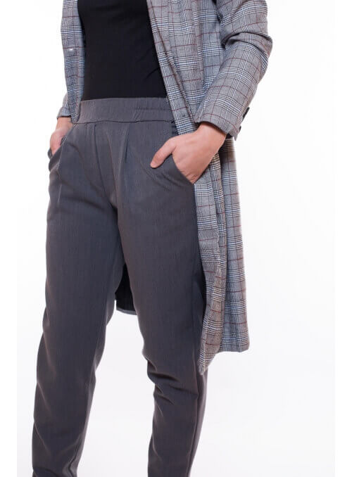 Pantalon coupe cigarette gris