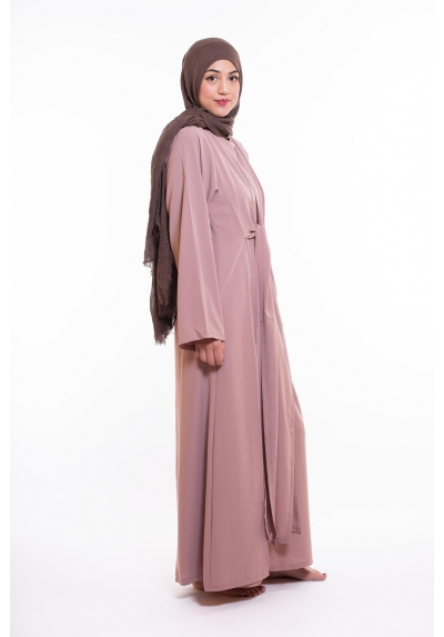 Abaya wrap vieux rose pour femme musulmane boutique hijab mode modest fashion paris nouvelle collection