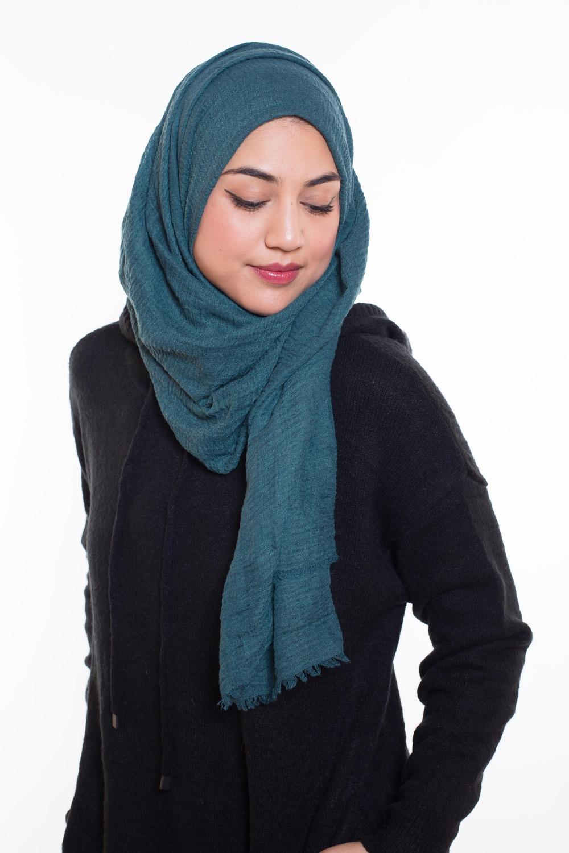 Hijab coton froissé vert