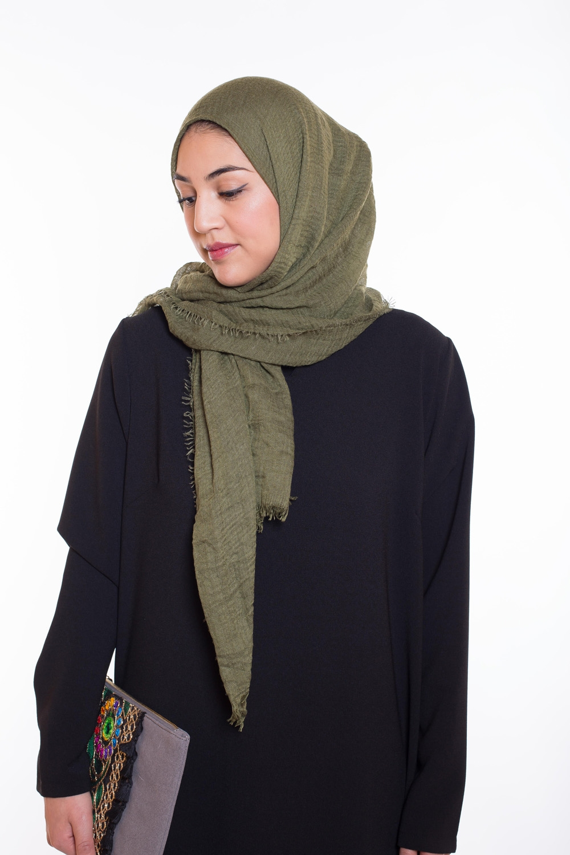 Hijab coton froissé olive