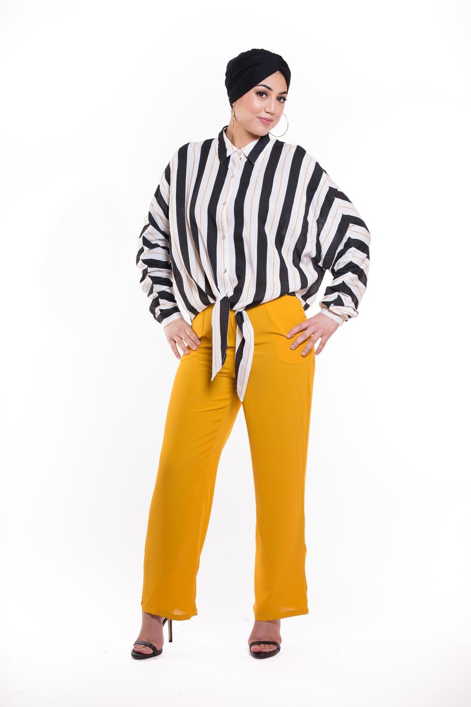 Pantalon large été moutarde