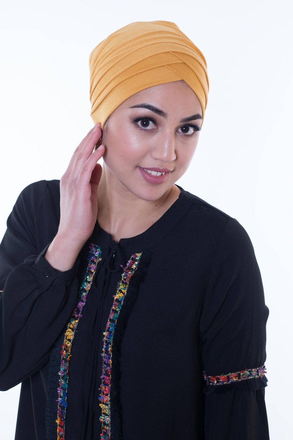 Turban croisé moutarde