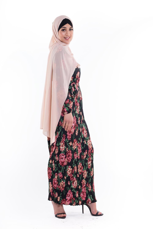 Robe plissé fleurie noir